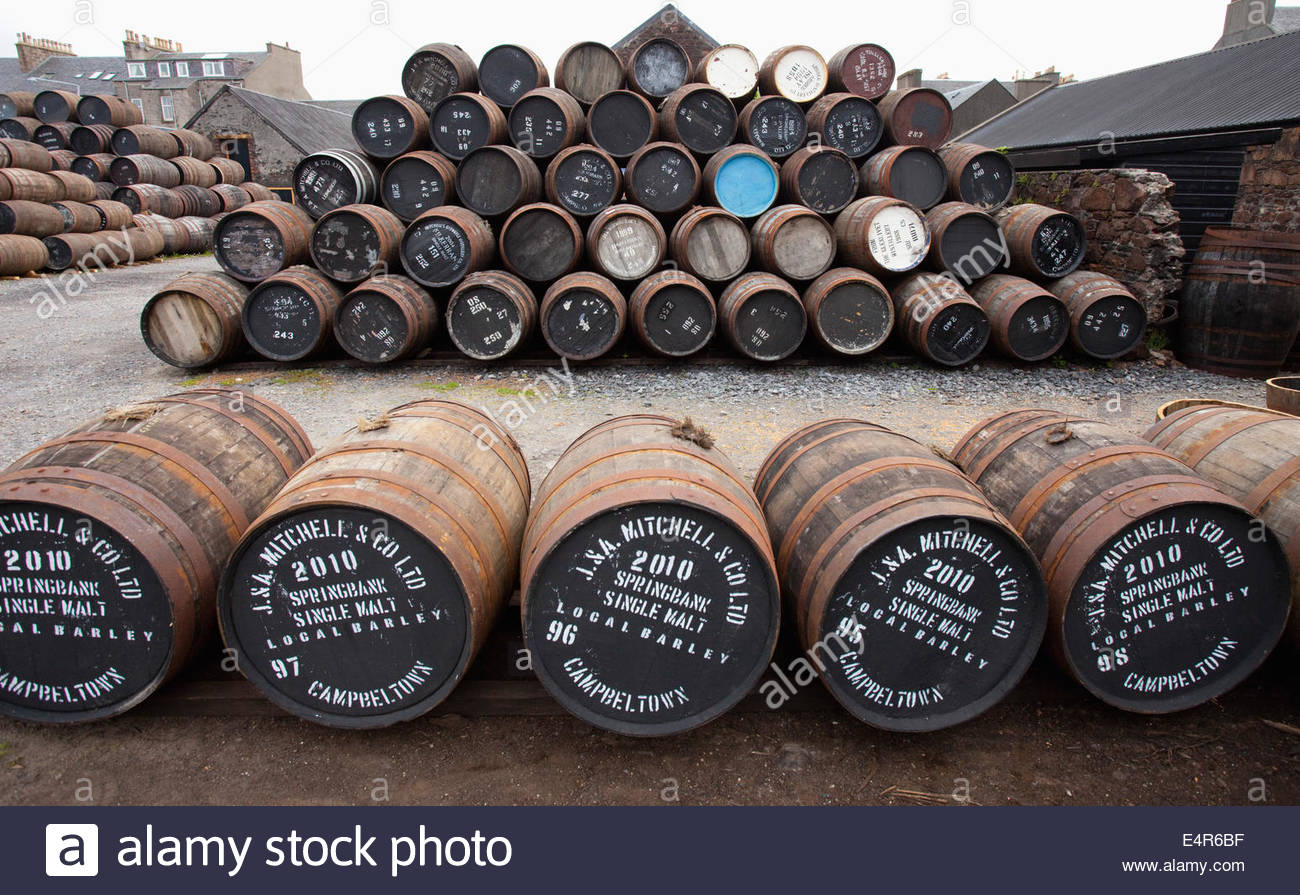 Whisky Casks at the Springbank Distillery, Campbeltown, Kintyre, Argyll, Scotland. - Stock Image