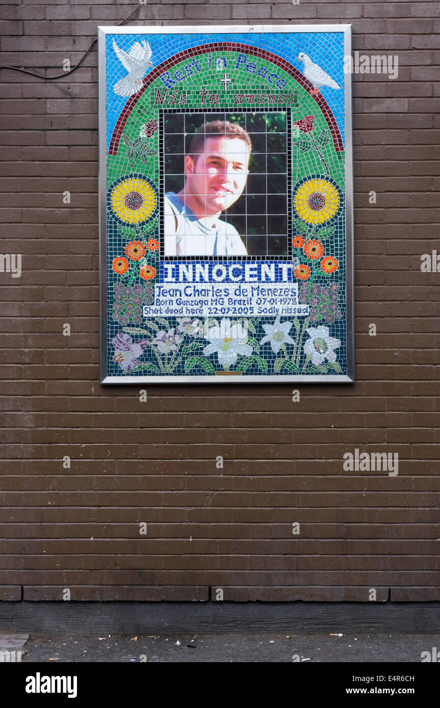 Memorial mosaic to Jean Charles de Menezes shot by police at Stockwell tube station in July 2005. - Stock Image