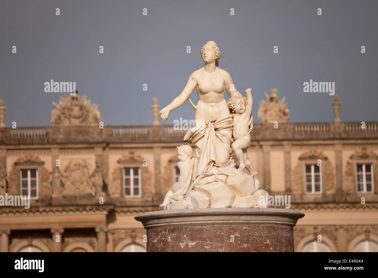 statues of Latona fountain and Herrenchiemsee palace on the island Herreninsel in lake Chiemsee, Chiemgau, Bavaria, - Stock Image