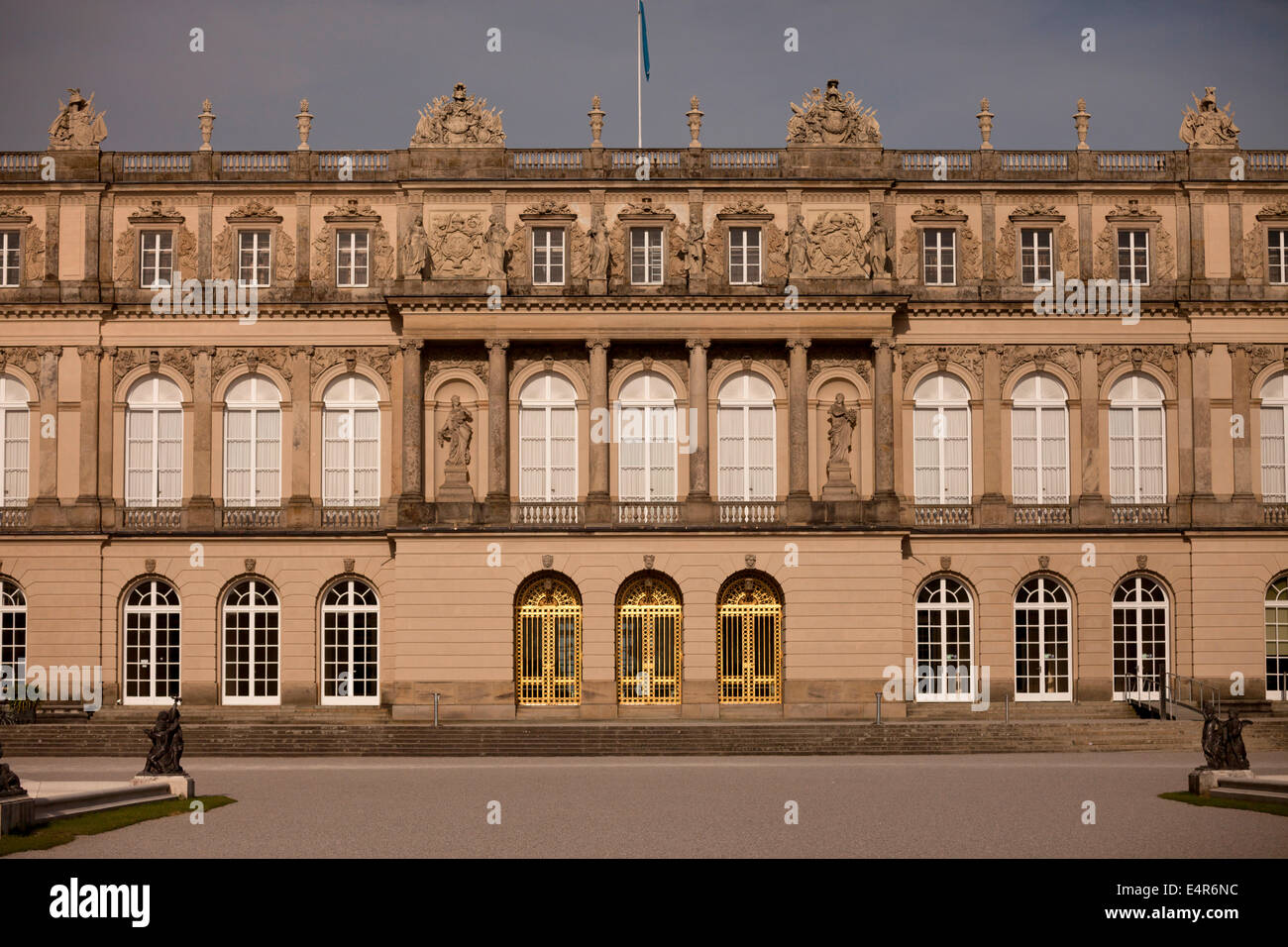 Herrenchiemsee palace on the island Herreninsel in lake Chiemsee, Chiemgau, Bavaria, Germany, Europe - Stock Image