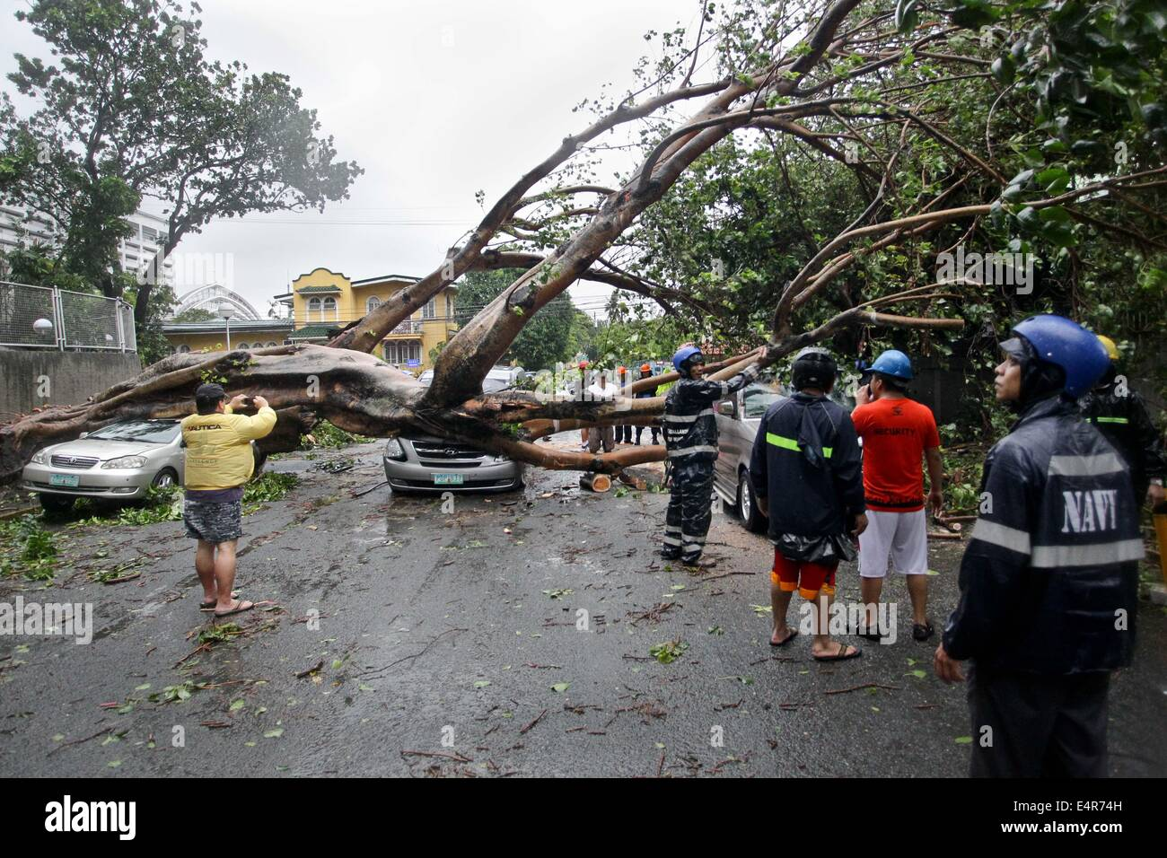 Manila, Philippines. 16th July, 2014. Local resuce workers attempt to remove debris as a tree toppled down on vehicles - Stock Image