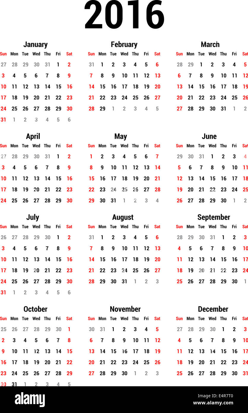 Simple calendar for 2016. Calendar template Stock Photo: 71811152 ...