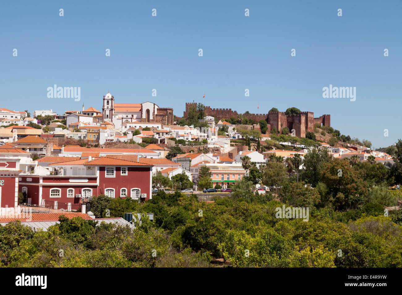 Skyline view of the town of Silves with moorish castle and cathedral, Algarve, Portugal Europe Stock Photo