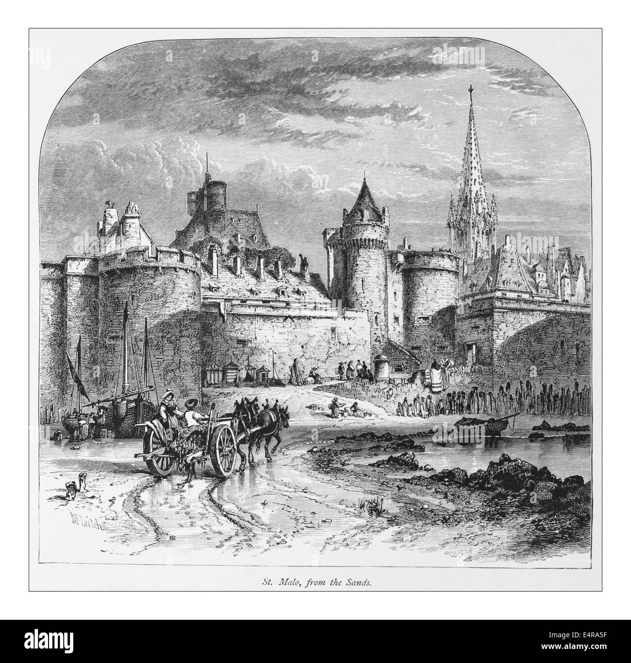 St. Malo from the Sands, France_ Illustration from 'The British isles - Cassell Petter & Galpin Part 8 Picturesque - Stock Image