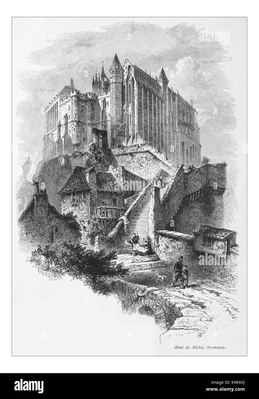Mont St. Michel, Normandy_Illustration from 'The British isles - Cassell Petter & Galpin Part 8 Picturesque - Stock Image