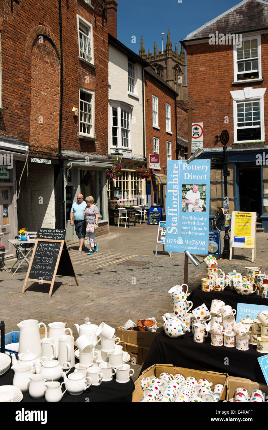 UK, England, Shropshire, Ludlow, Castle Square, open air market, ceramics stall in Church street - Stock Image
