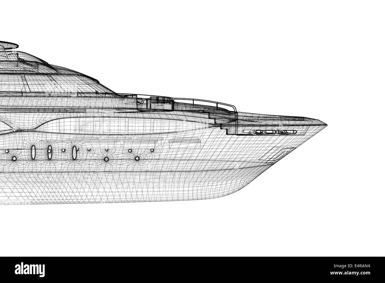 luxury motor yacht   3D model body structure, wire model Stock Photo
