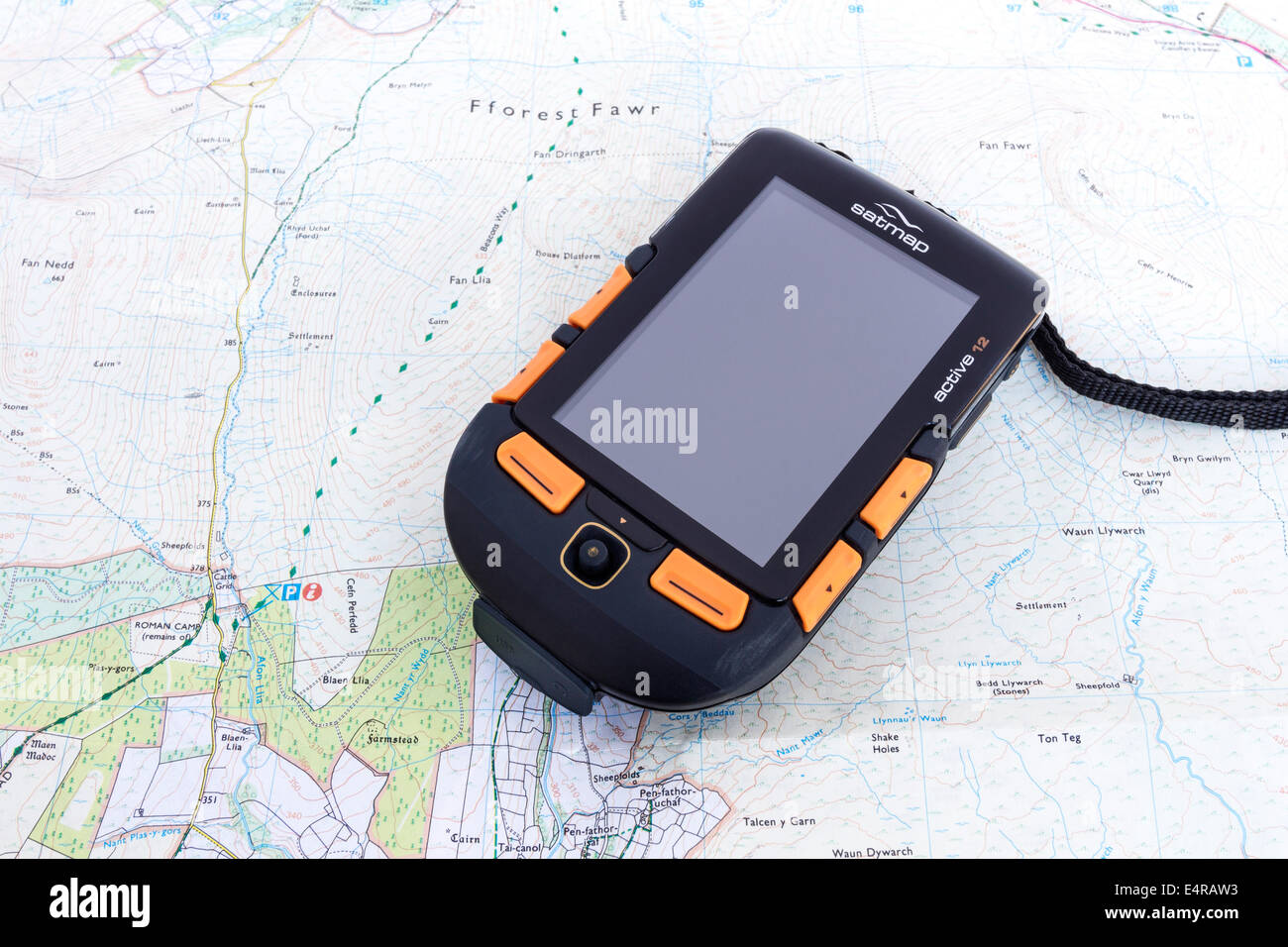 Satmap Active 12 GPS Unit and Ordnance Survey Map Stock Photo