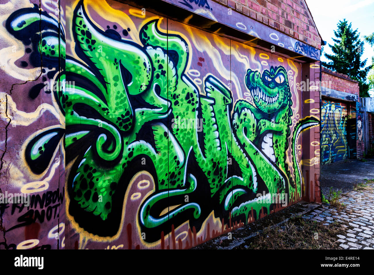 Graffiti On Garage Doors In A Service Road Abington Northampton