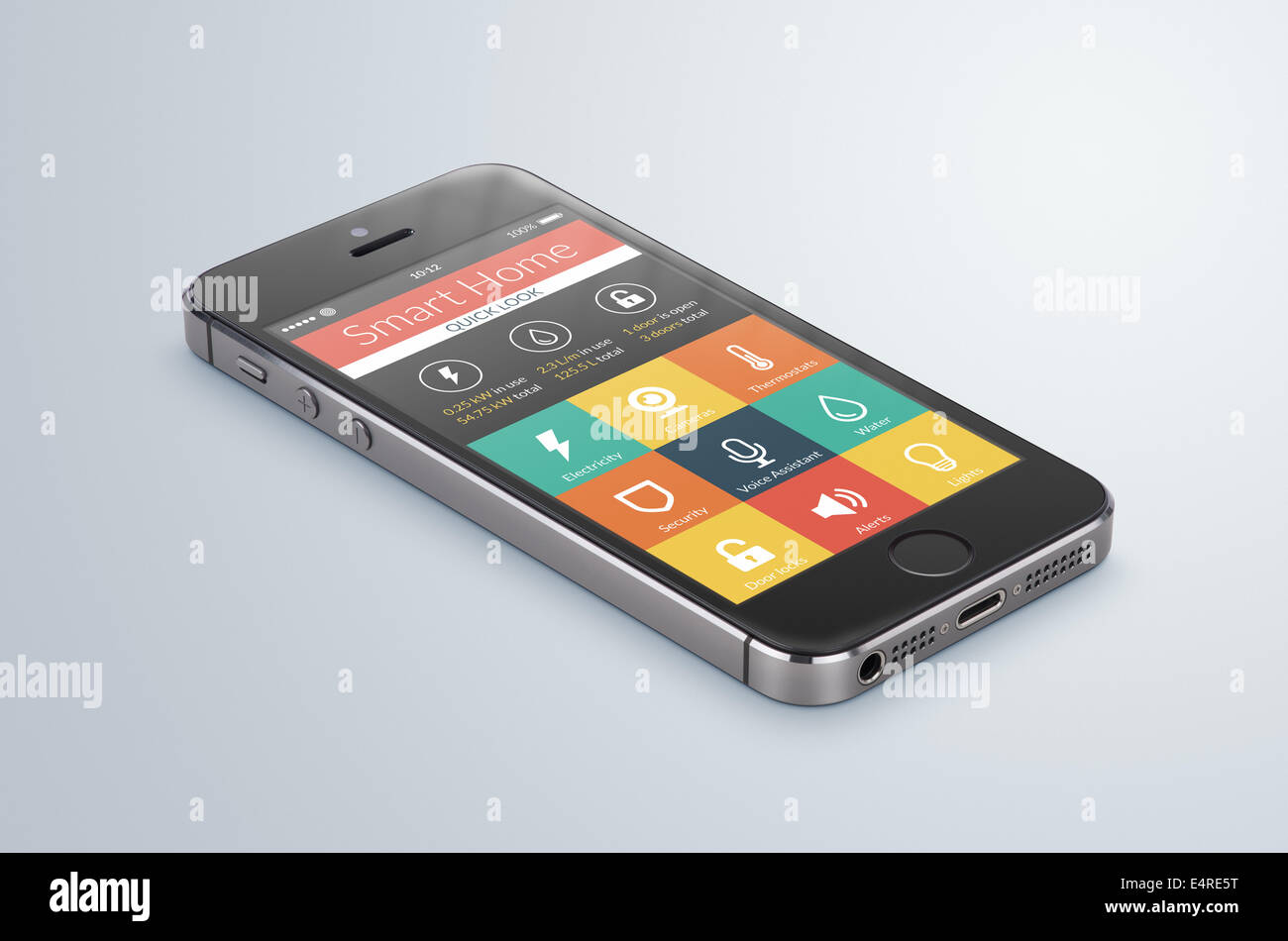 Black modern smartphone with smarthome application on the screen lies on the gray surface. For access to all of - Stock Image