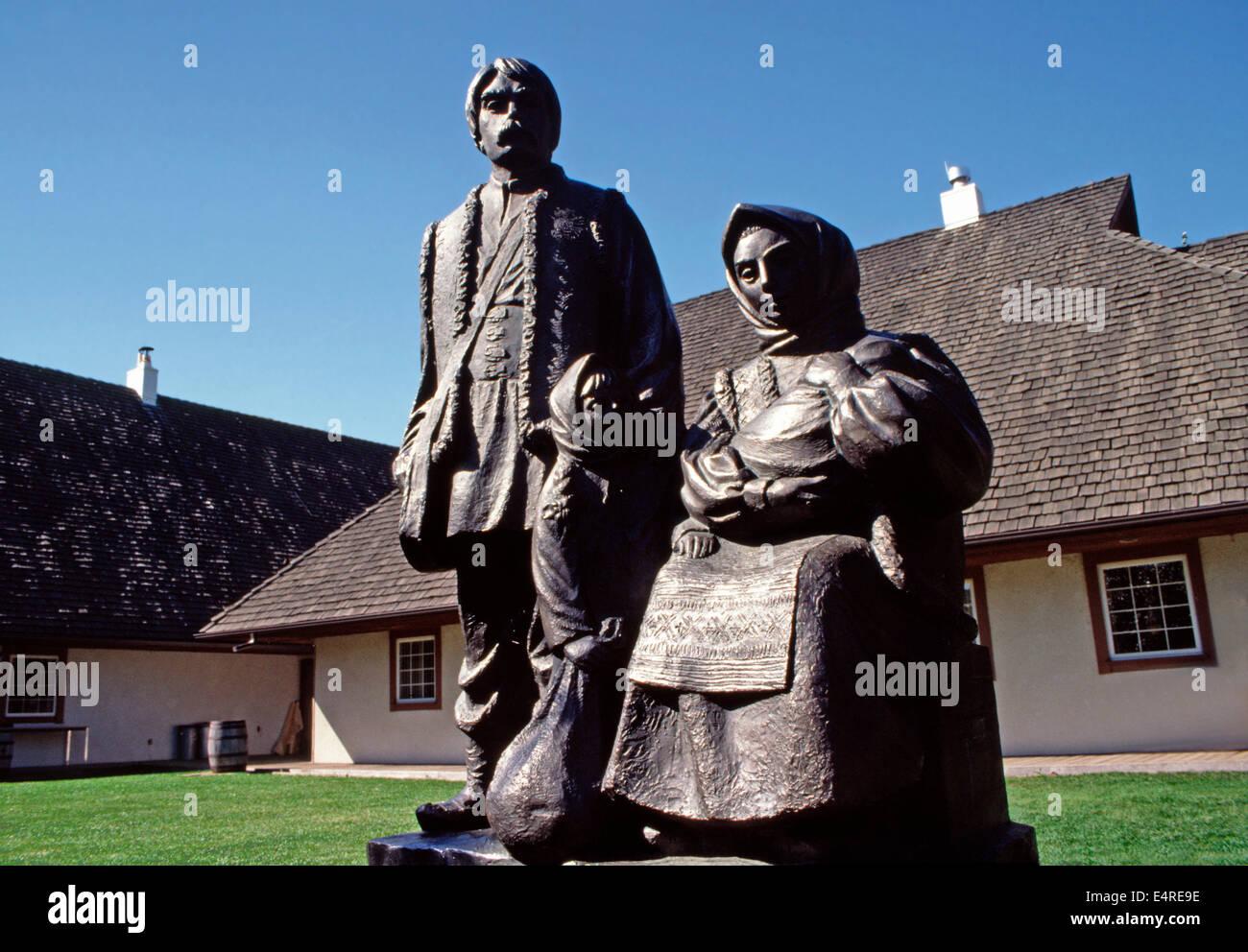 Bronzes of the Ukrainian people settling the Canadian prairies,Ukrainian Cultural Heritage Village,Edmonton,Alberta - Stock Image