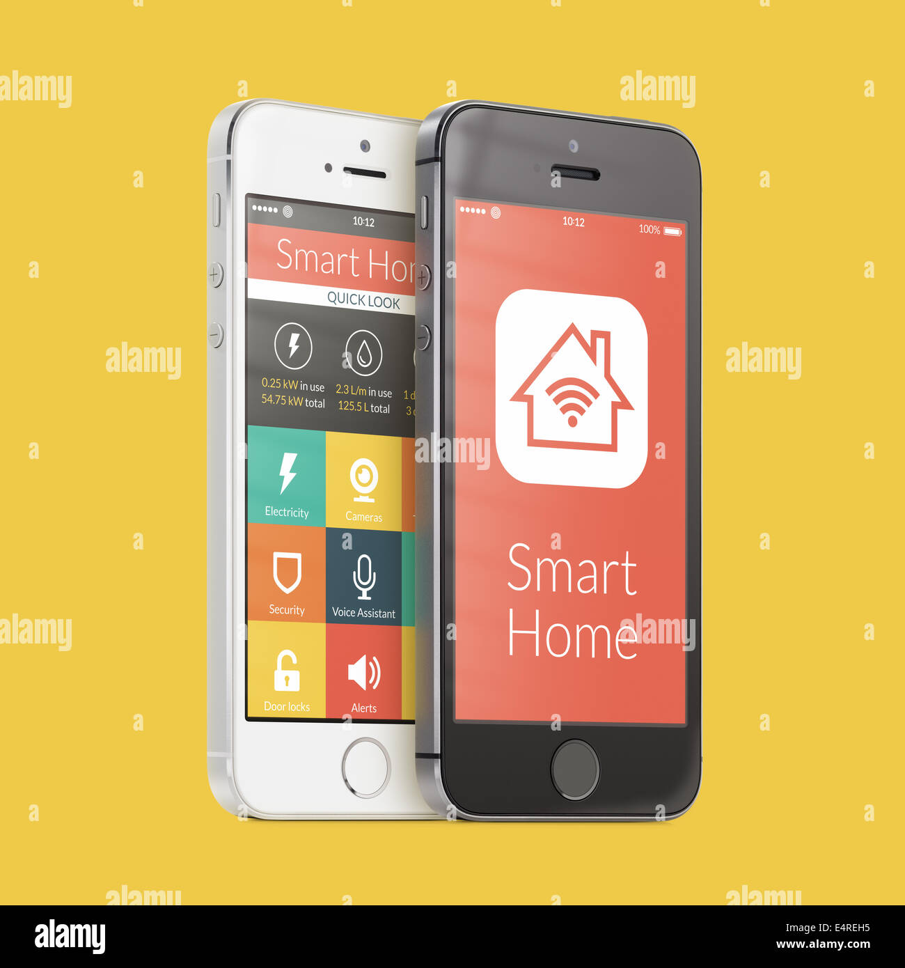 Black and white smartphones with smart home application on the screen on yellow. For access to all of the controls - Stock Image