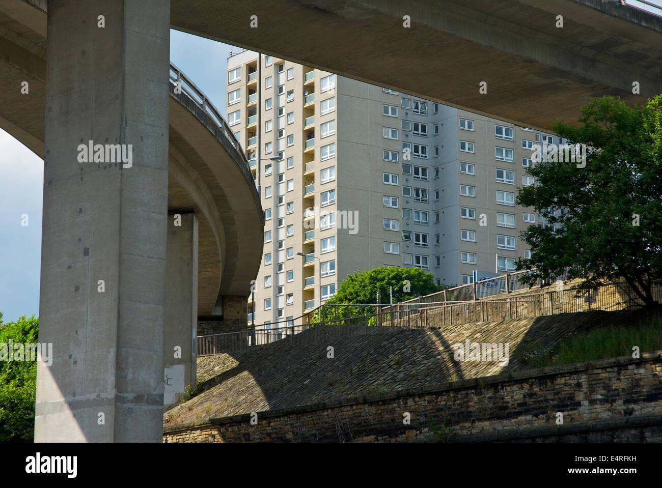 North Bridge and high-rise flats, Halifax, West Yorkshire, England UK - Stock Image