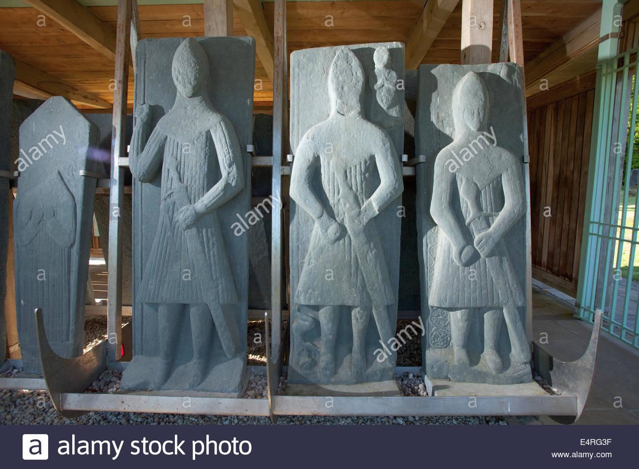 Carved Medieval Grave Slabs at Saddell Abbey, Saddell, Kintyre, Argyll, Scotland. - Stock Image