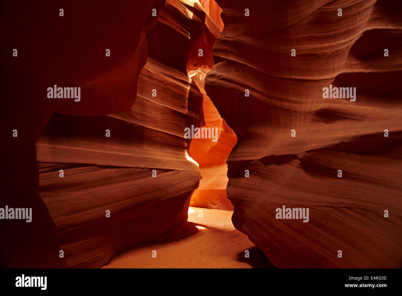 Eroded sandstone formations in Upper Antelope Canyon, near Page, Navajo Nation, Arizona, USA Stock Photo