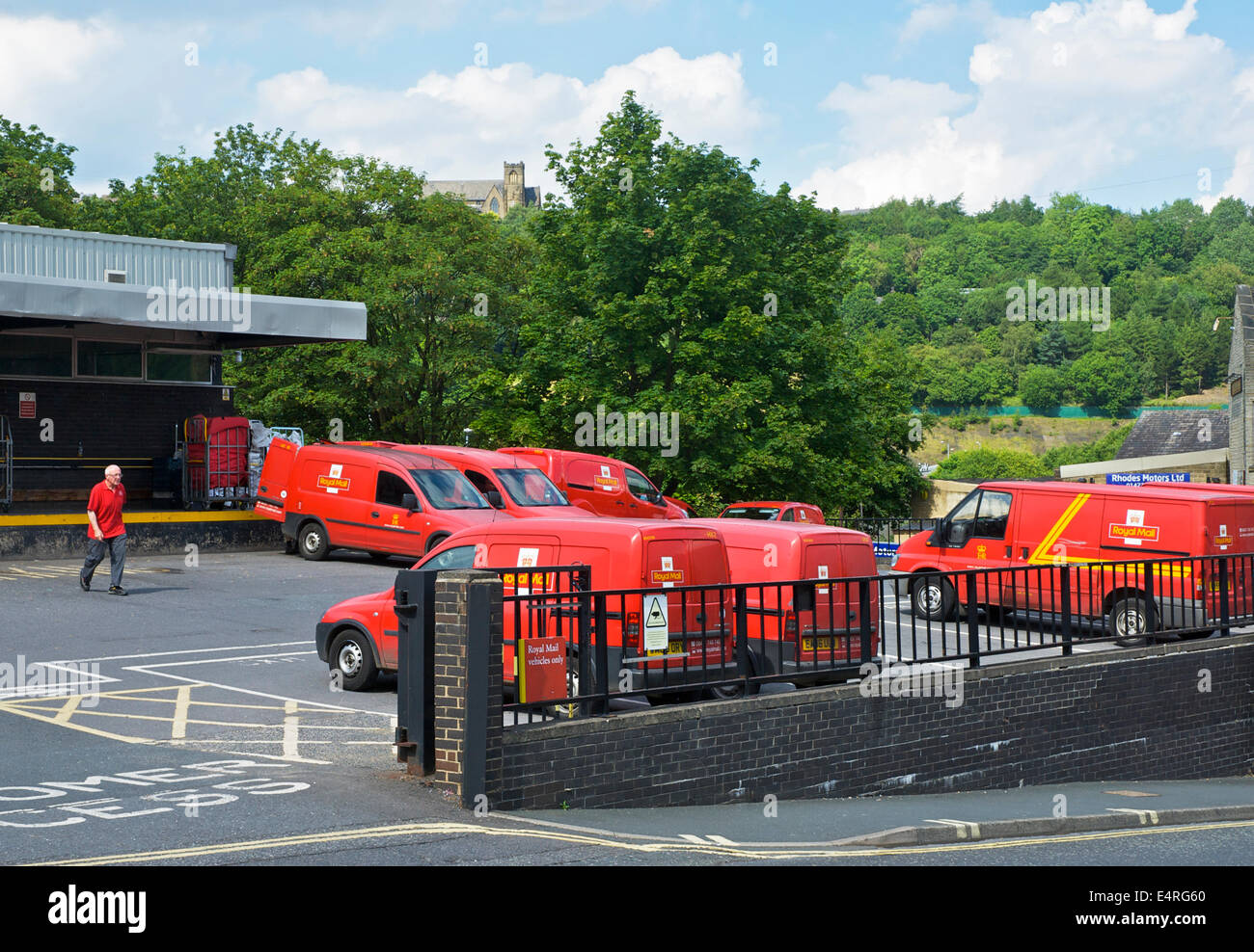 Royal mail vans in Halifax, West Yorkshire, England UK - Stock Image