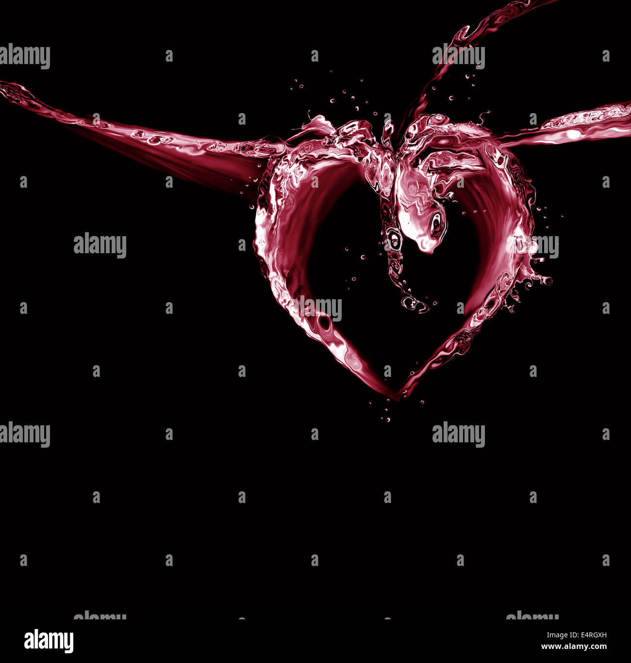 A heart made of red liquid on black. - Stock Image