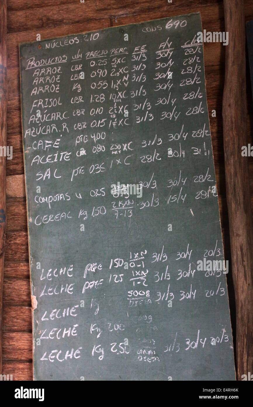 A board with the current prices for state-subsidised food at a shop for state-subsidised basics, which can be bought - Stock Image