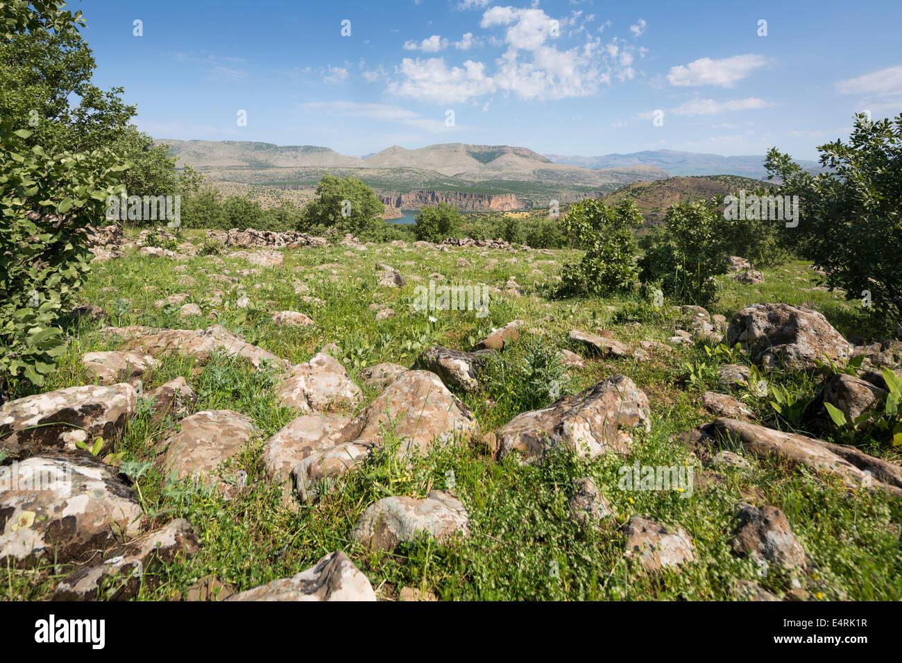 landscape between Siverek and Nemrut Dagh, Southeastern Anatolia, Turkey - Stock Image