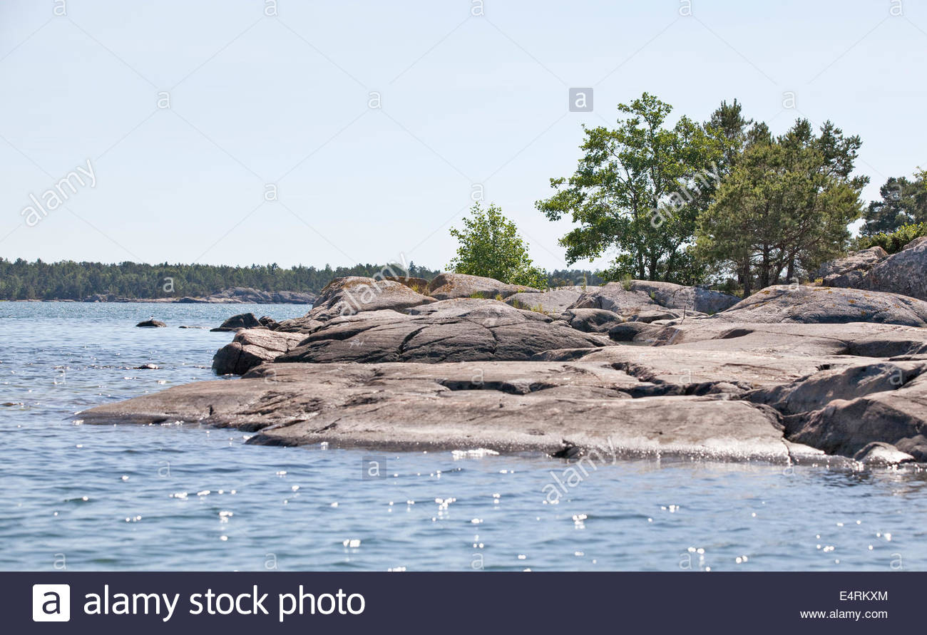 Sunny day at the coast of Southwest Finland - Stock Image