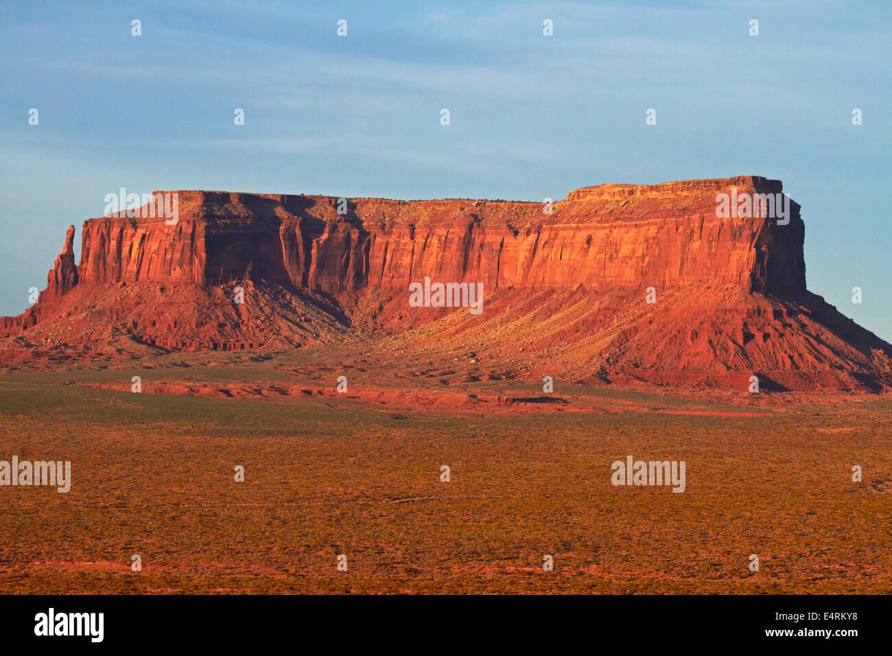 Late light on Eagle Mesa, Monument Valley, Navajo Nation, Utah/Arizona Border, USA - Stock Image