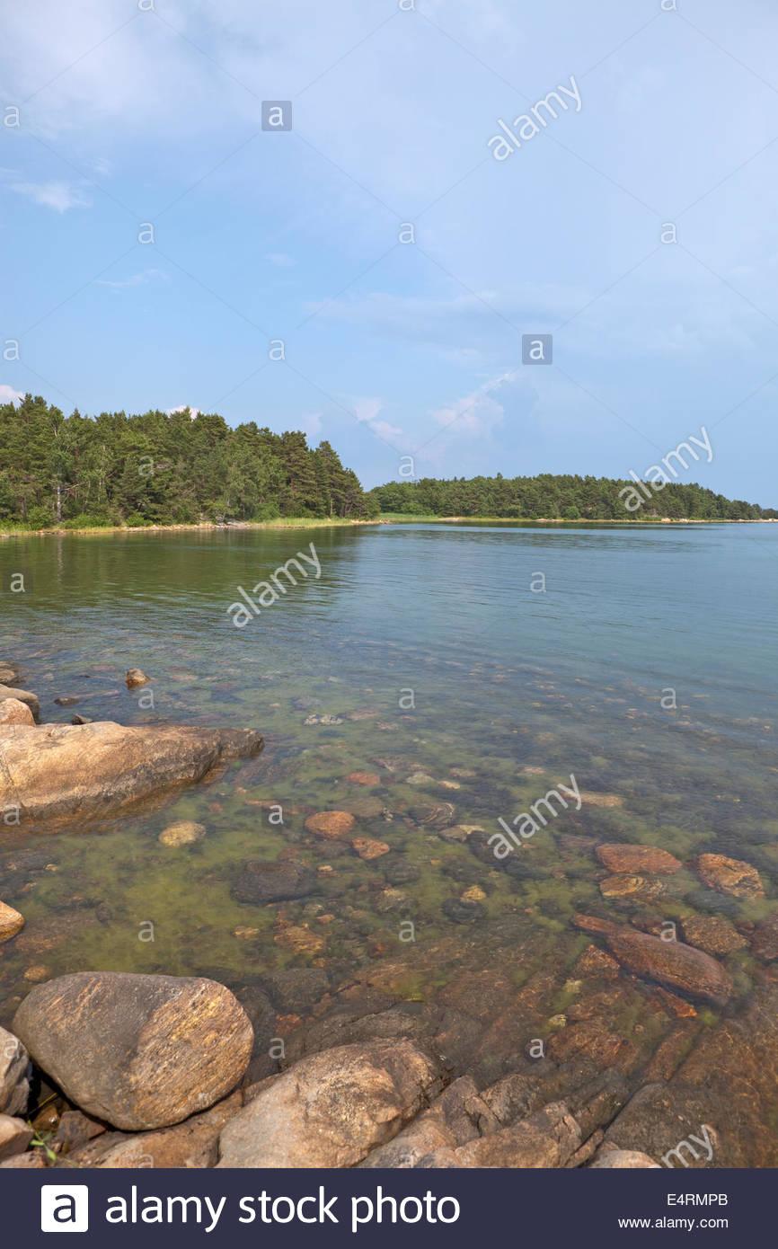 Calm Baltic Sea at the coast of Finland - Stock Image