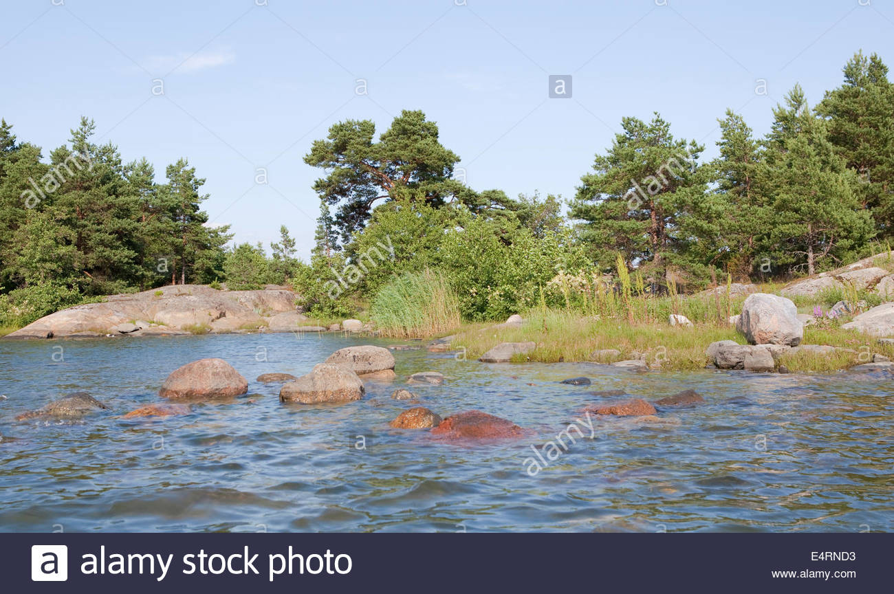 A beautiful sunny day at the archipelago of Finland - Stock Image