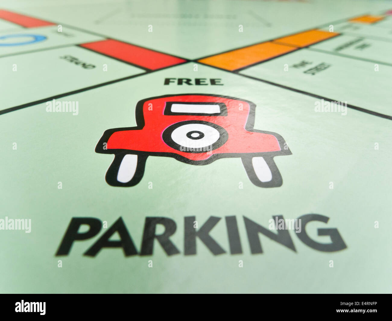 'FREE PARKING' square on the Monopoly board. - Stock Image