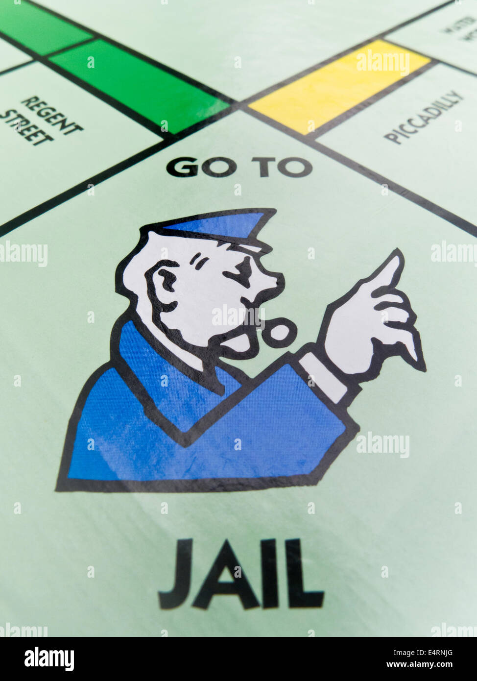 The 'GO TO JAIL' square on a Monopoly board. - Stock Image