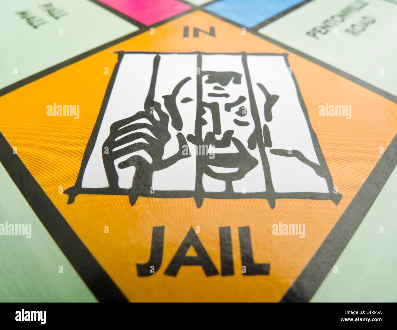 The 'IN JAIL' square on a Monopoly board. - Stock Image