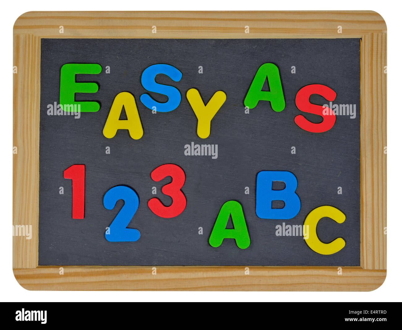 Easy as 123 ABC in colored letters written on traditional slate - Stock Image