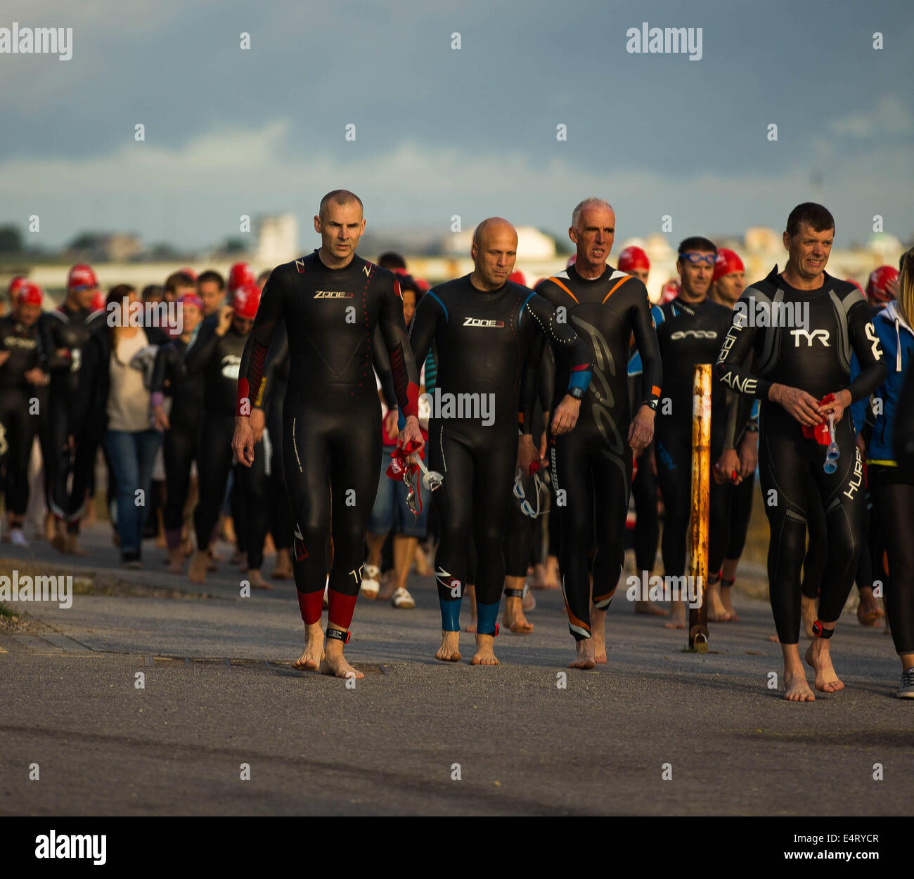 Swimmers preparing for Plymouth Triathlon 2014 - Stock Image