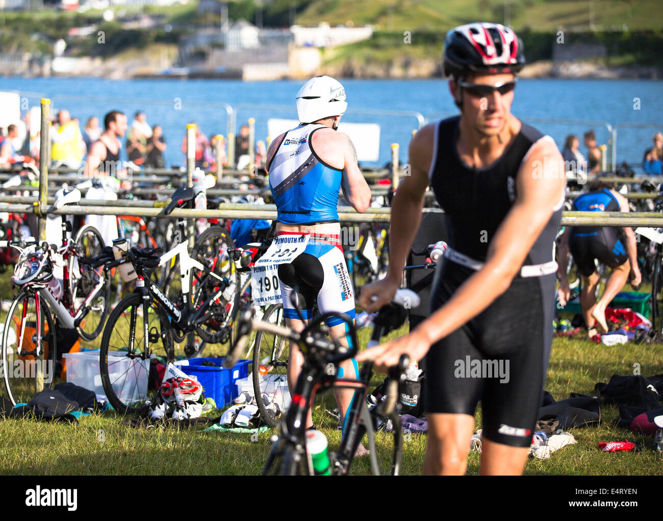Athletes in transition stage Plymouth triathlon 2014 - Stock Image