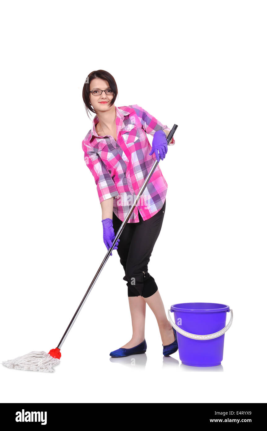 Cleaning woman washing floor with mop and bucket - Stock Image