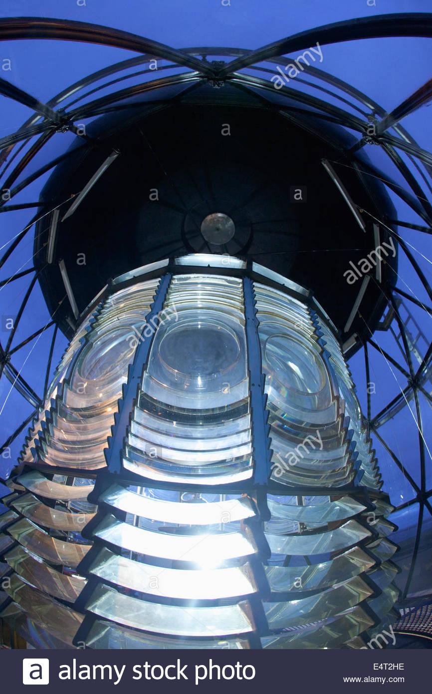 The lens of the North Ronaldsay Lighthouse, North Ronaldsay, Orkney, Scotland. - Stock Image