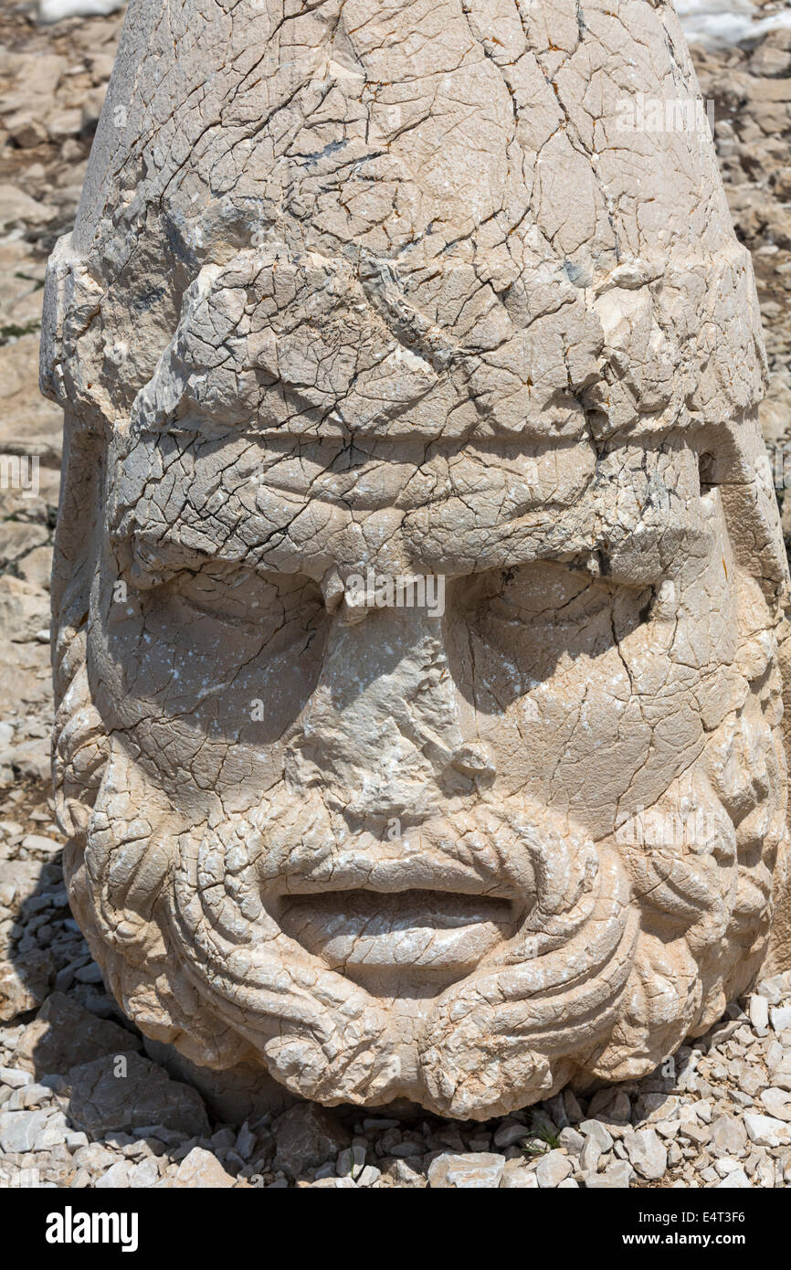 head of Heracles Artagnes Ares, west terrace, Nemrut or Nemrud Dagh, Anatolia, Turkey - Stock Image