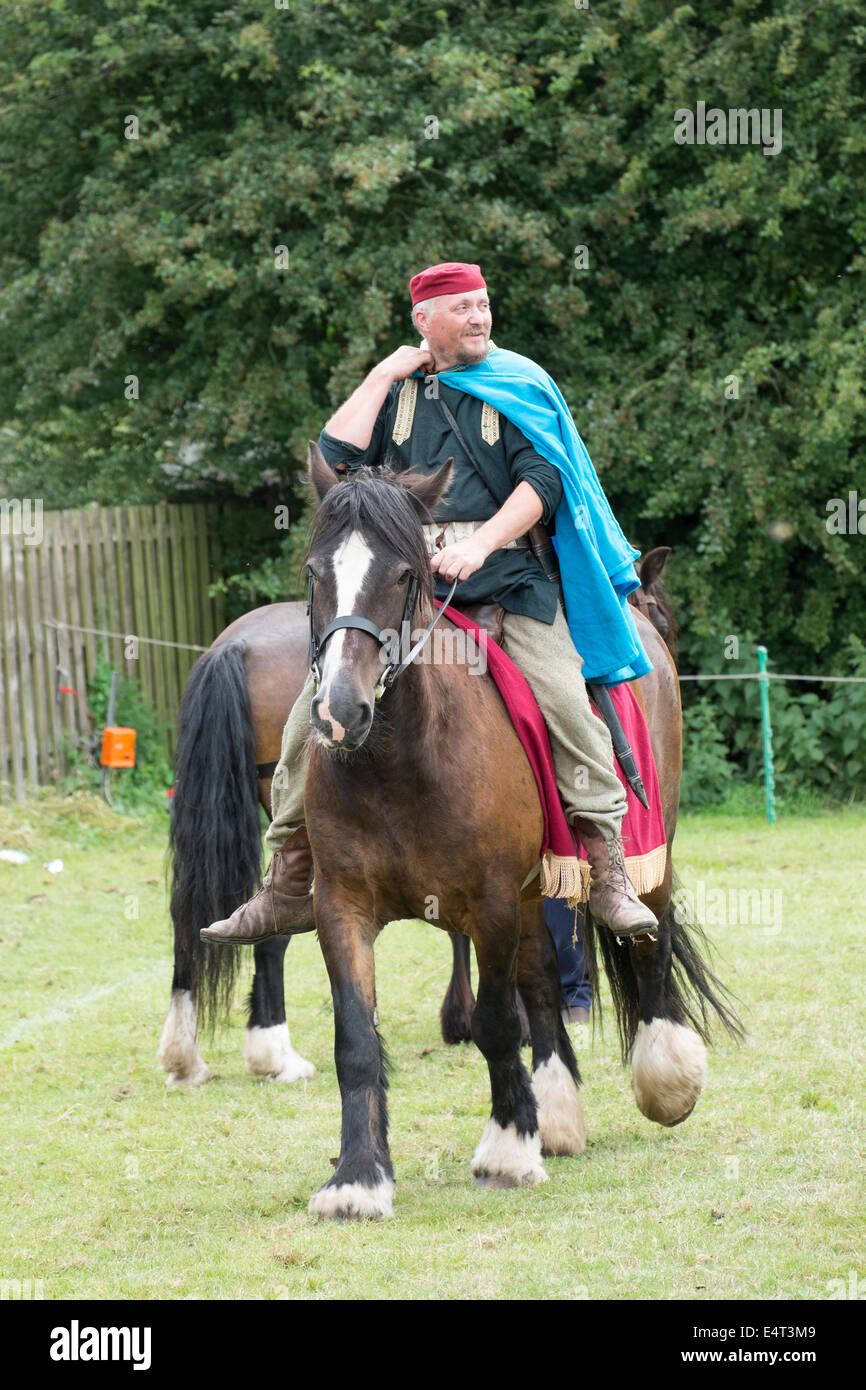 Roman re-enactment group Romanhorum recreate what it was like as a horseback soldier in Roman times. - Stock Image