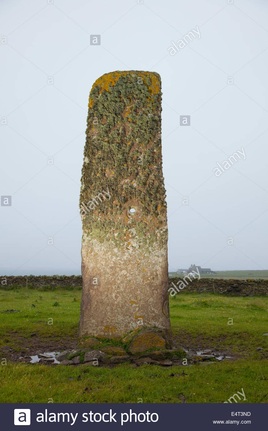 The Stan Stane -  a perforated single megalith, on North Ronaldsay, Orkney, Scotland. - Stock Image