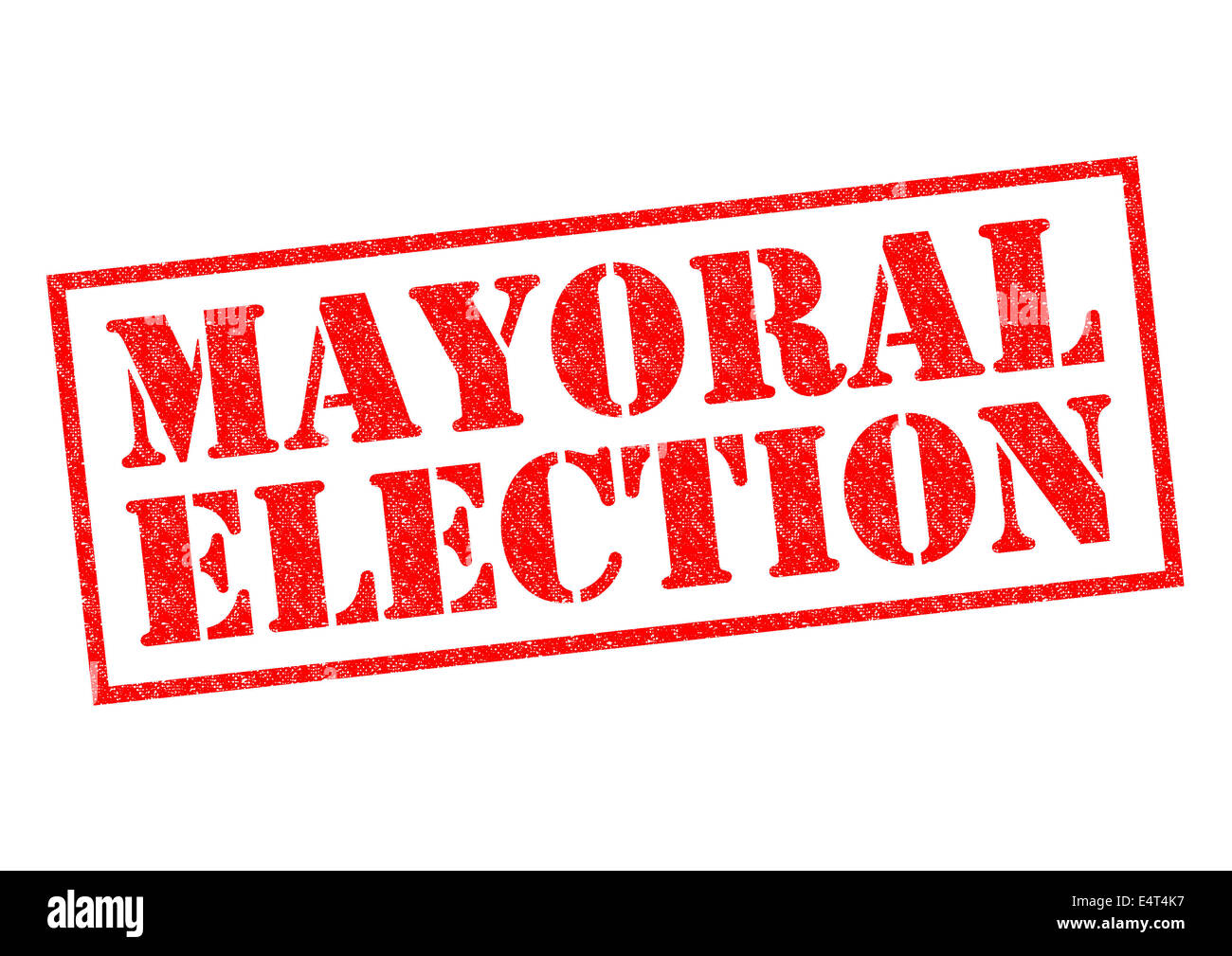 MAYORAL ELECTION red Rubber Stamp over a white background. - Stock Image