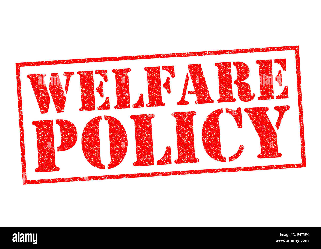 WELFARE POLICY red Rubber Stamp over a white background. Stock Photo