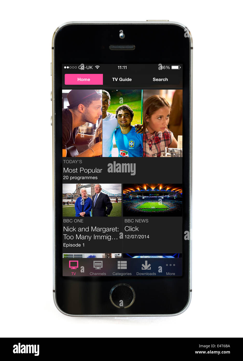 On demand television via the BBC iPlayer app on an Apple iPhone 5S - Stock Image