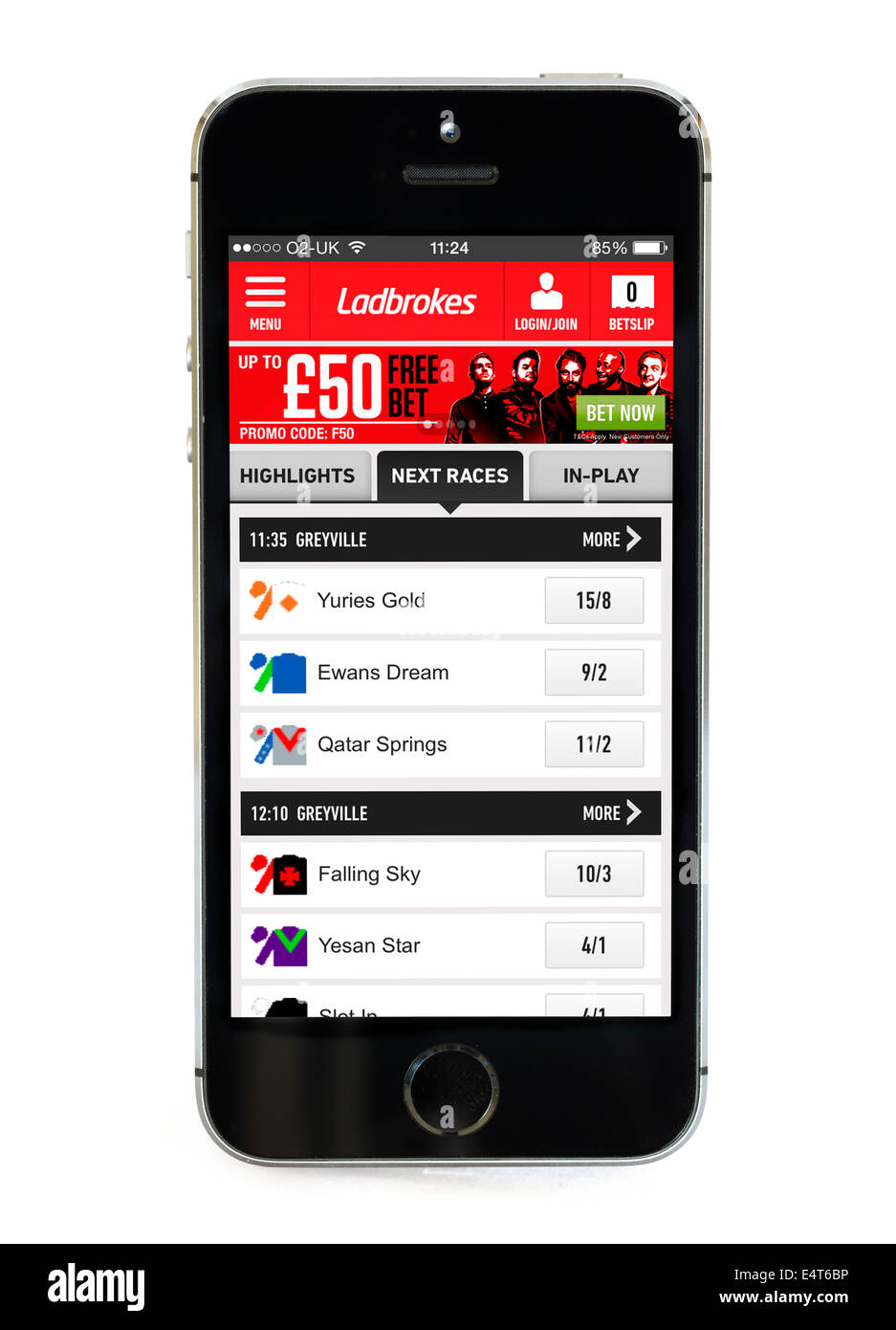 Ladbrokes betting app on an Apple iPhone 5S - Stock Image