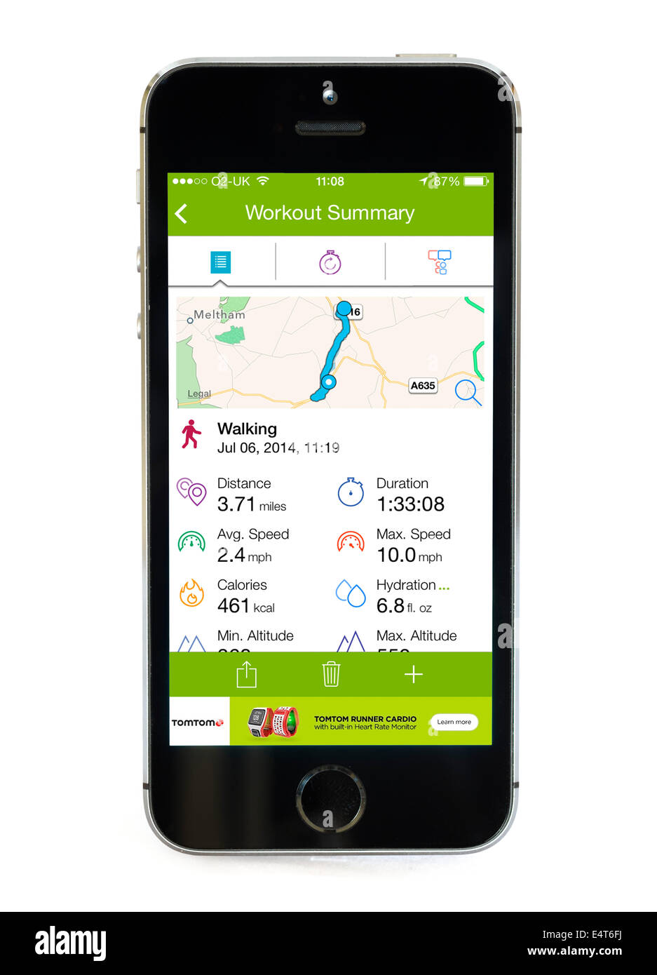Using the GPS activity tracking app, Endomondo, on an Apple iPhone 5S - Stock Image