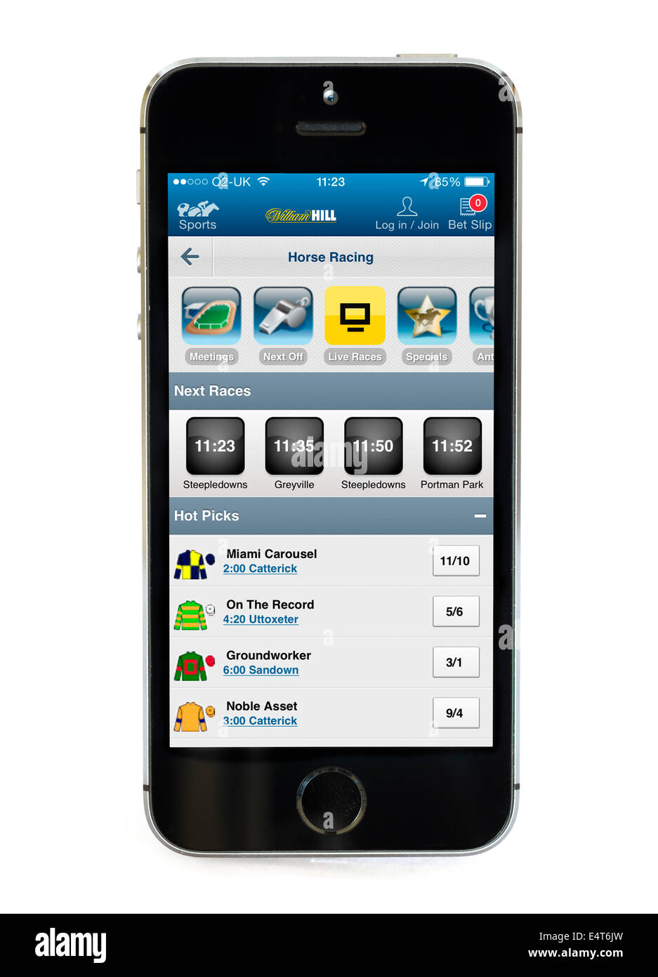 William Hill betting app on an Apple iPhone 5S - Stock Image
