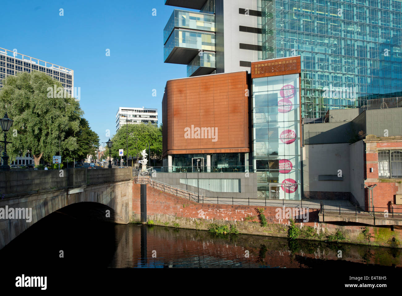 The People's History Museum in front of Manchester Civil Justice Centre on Bridge Street in Manchester on a - Stock Image