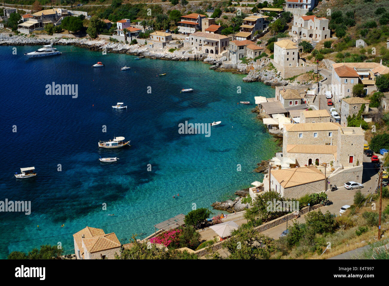 LIMENI, GREECE, 2nd July 2014. Small port & fishing village close to Areopoli on the west coast of the Mani - Stock Image