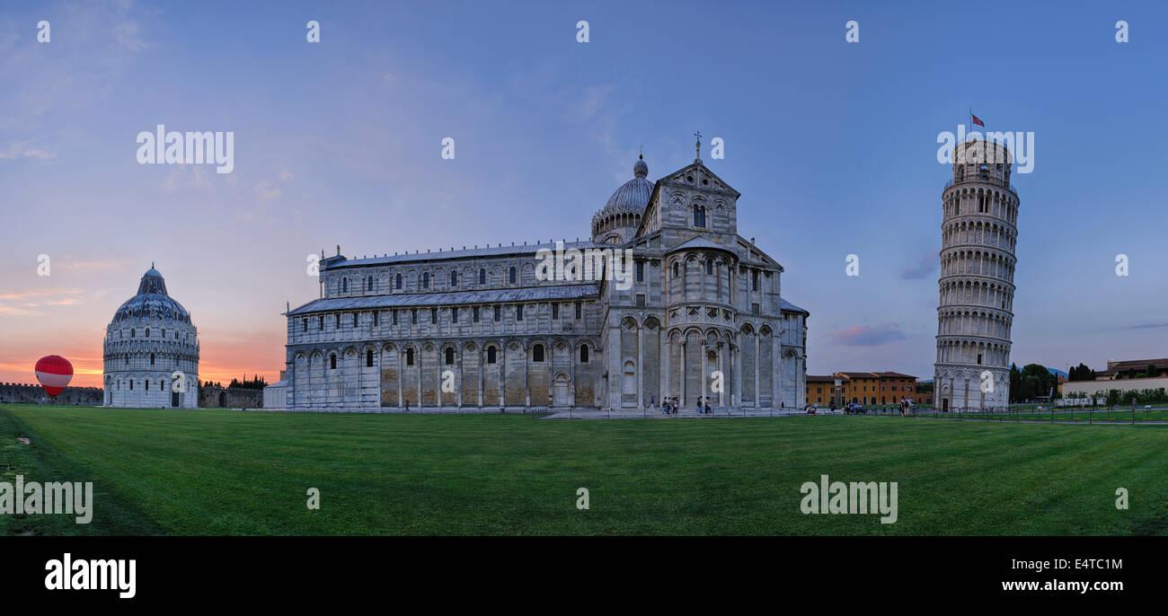 Leaning Tower of Pisa, Duomo de Pisa and Pisa Baptistry at Sunset, Piazza dei Miracoli, Pisa, Tuscany, Italy Stock Photo