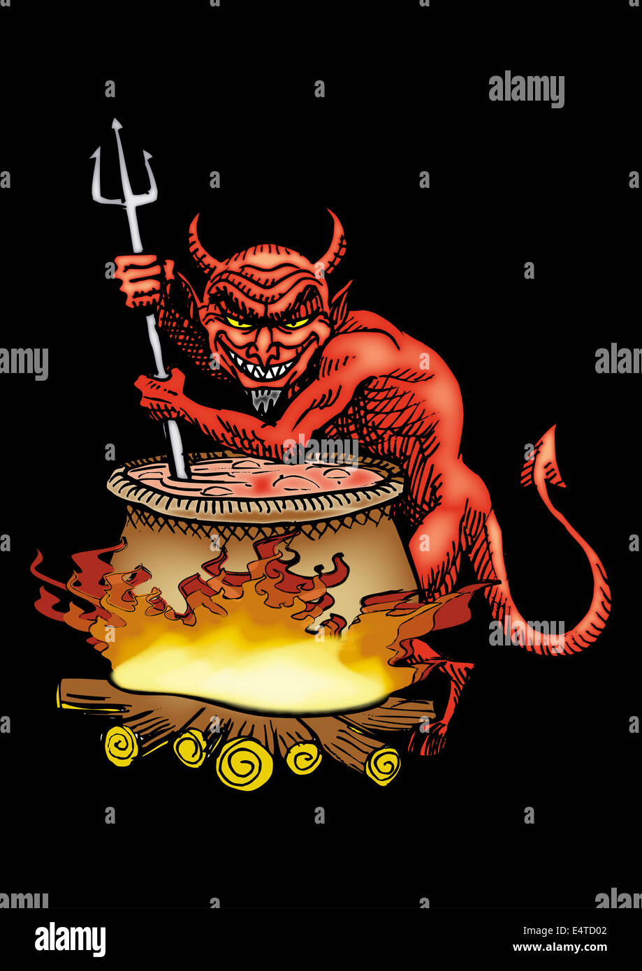 Red devil mixing big boiling pot - Stock Image