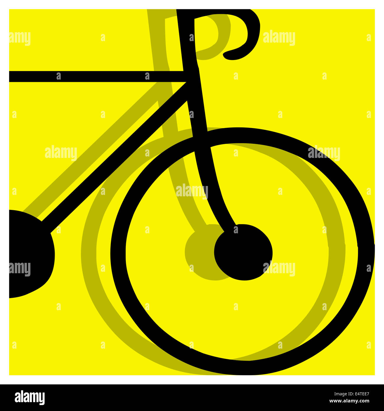 bicycling pictogram yellow - Stock Image