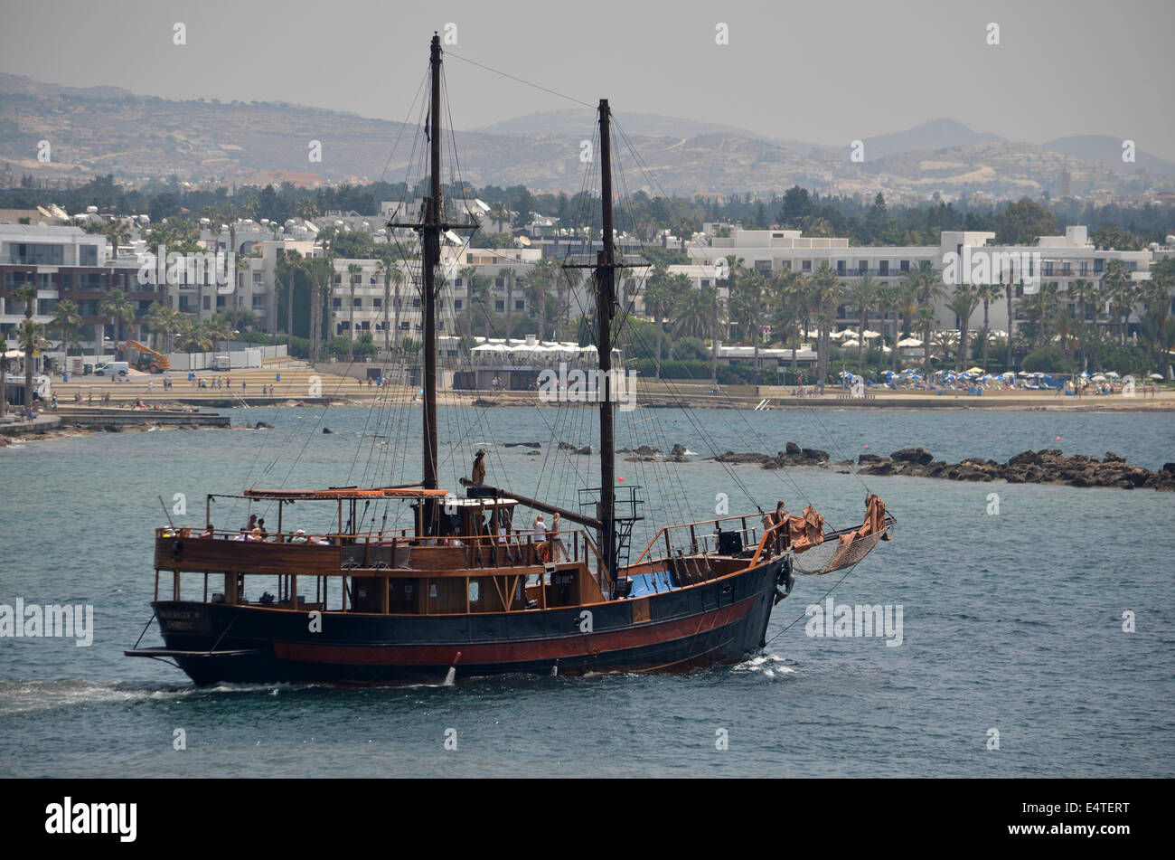 The famous 'Pirate ship of Paphos Habour' is our very own Jolly Roger, taking its name from the pirate ship - Stock Image